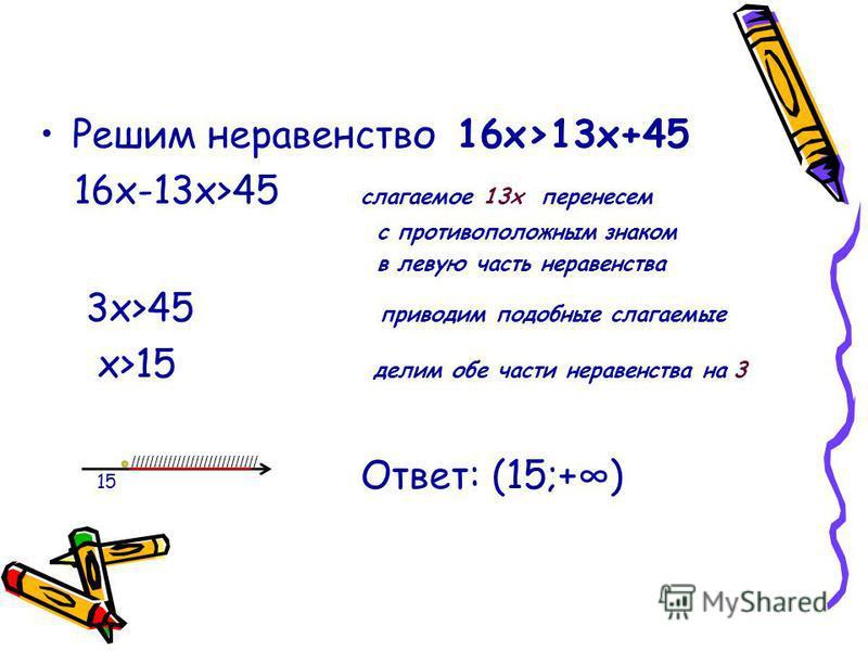 //////////////////////////// Решим неравенство 16 х>13 х+45 16 х-13 х>45 слагаемое 13 х перенесем с противоположным знаком в левую часть неравенства 3 х>45 приводим подобные слагаемые х>15 делим обе части неравенства на 3 15 Ответ: (15;+)