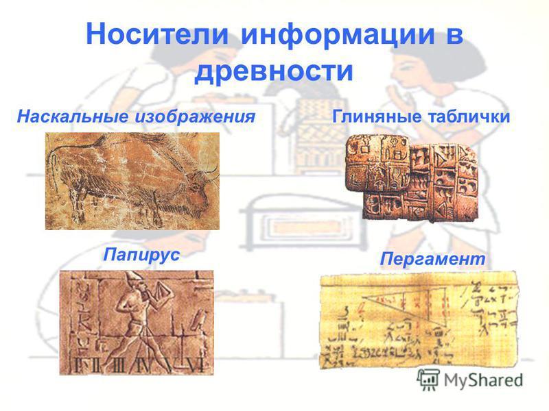 Носители информации в древности Наскальные изображения Глиняные таблички Папирус Пергамент