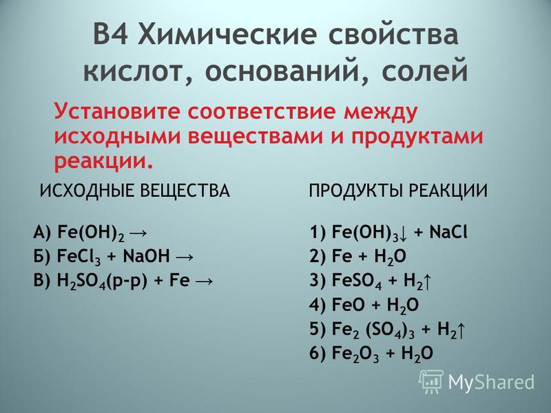 В4 Химические свойства кислот, оснований, солей Установите соответствие между исходными веществами и продуктами реакции. ИСХОДНЫЕ ВЕЩЕСТВА ПРОДУКТЫ РЕАКЦИИ A) Fe(OH) 2 1) Fe(OH) 3 + NaCl Б) FeCl 3 + NaOH 2) Fe + H 2 O В) H 2 SO 4 (р-р) + Fe 3) FeSO 4