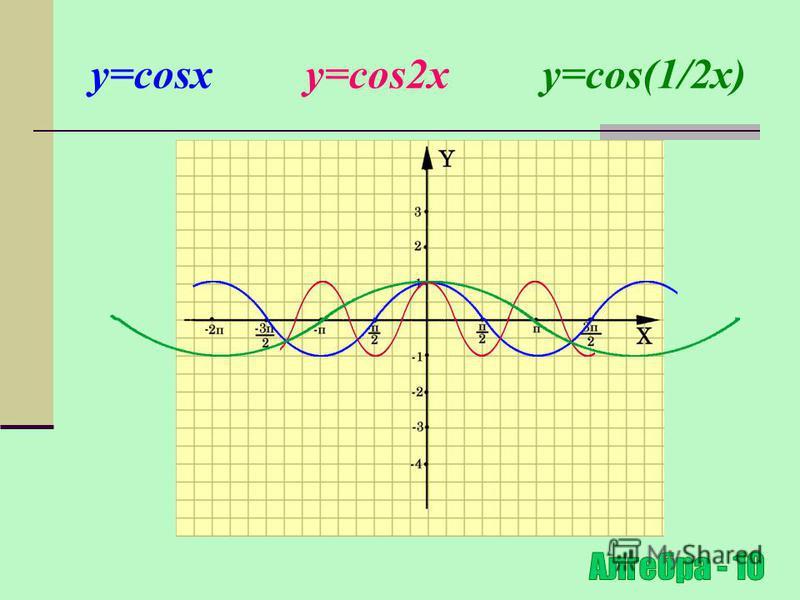 Розтяг (стиск) в k раз відносно осі OХ y=f(x) y=f(kx), де k>0 (x 0 ;y 0 ) ( x 0 ;y 0 ) Для побудови графіка функції y=f(kx) необхідно графік функції y=f(x) стиснути в k раз відносно осі ОХ для k >1 і розтягнути в 1/k раз відносно осі OХ для k<1