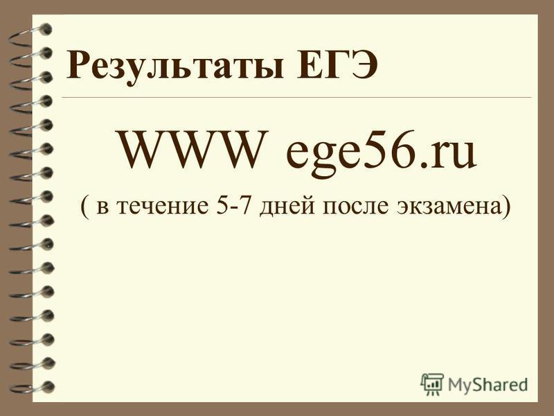 Результаты ЕГЭ WWW ege56. ru ( в течение 5-7 дней после экзамена)