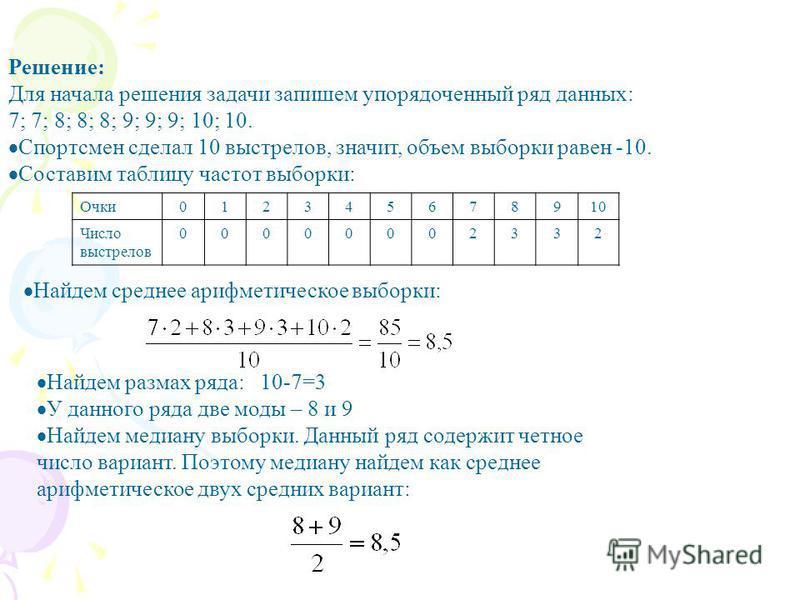 Решение: Для начала решения задачи запишем упорядоченный ряд данных: 7; 7; 8; 8; 8; 9; 9; 9; 10; 10. Спортсмен сделал 10 выстрелов, значит, объем выборки равен -10. Составим таблицу частот выборки: Очки 012345678910 Число выстрелов 00000002332 Найдем