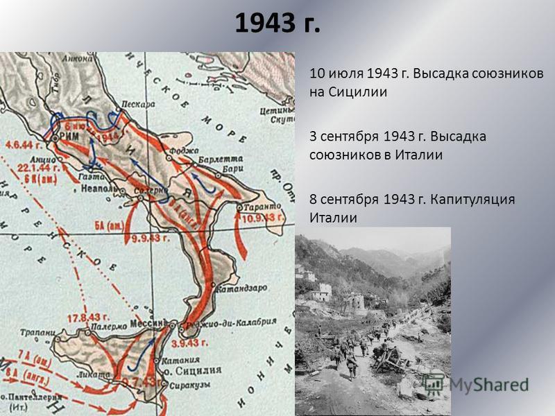 1943 г. 10 июля 1943 г. Высадка союзников на Сицилии 3 сентября 1943 г. Высадка союзников в Италии 8 сентября 1943 г. Капитуляция Италии
