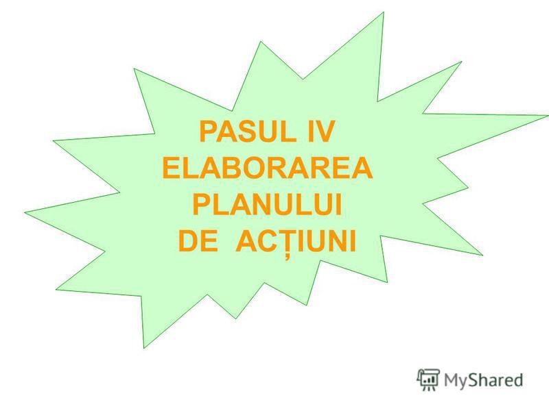 PASUL IV ELABORAREA PLANULUI DE ACŢIUNI