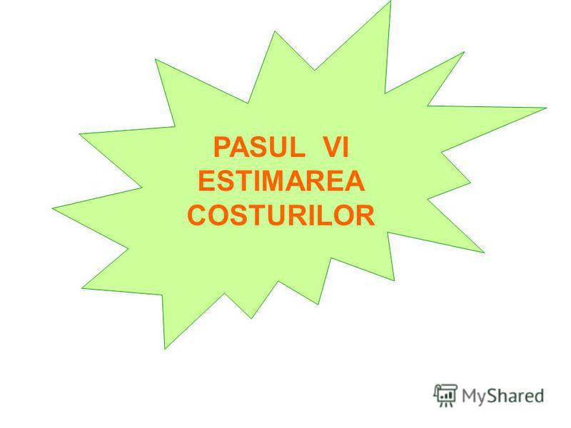 PASUL VI ESTIMAREA COSTURILOR