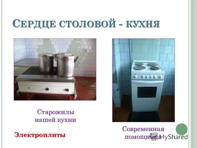 С ЕРДЦЕ СТОЛОВОЙ - КУХНЯ Старожилы нашей кухни Современная помощница Электроплиты