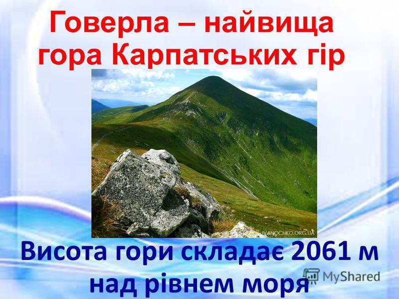Говерла – найвища гора Карпатських гір Висота гори складає 2061 м над рівнем моря