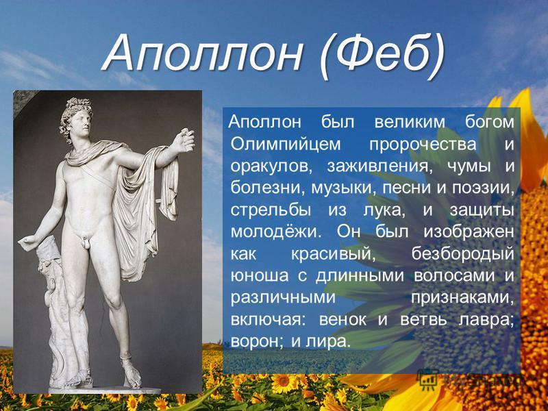Аполлон (Феб) Аполлон был великим богом Олимпийцем пророчества и оракулов, заживления, чумы и болезни, музыки, песни и поэзии, стрельбы из лука, и защиты молодёжи. Он был изображен как красивый, безбородый юноша с длинными волосами и различными призн