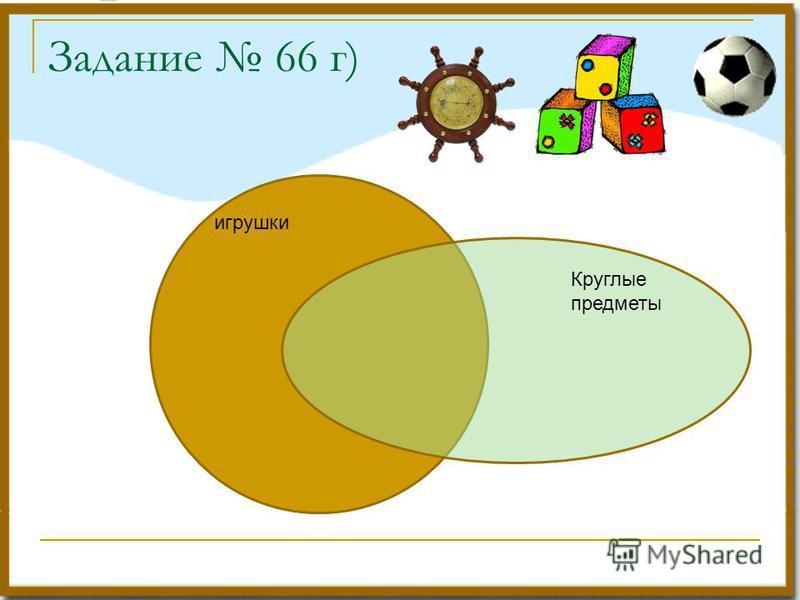 Задание 66 г) игрушки Круглые предметы