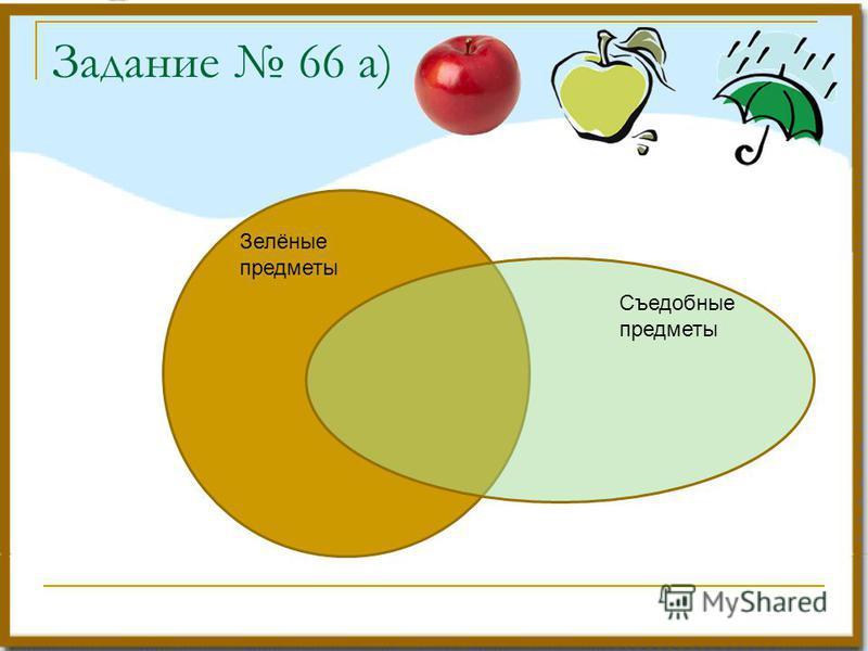 Задание 66 а) Зелёные предметы Съедобные предметы