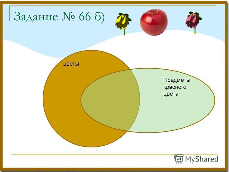 Задание 66 б) цветы Предметы красного цвета