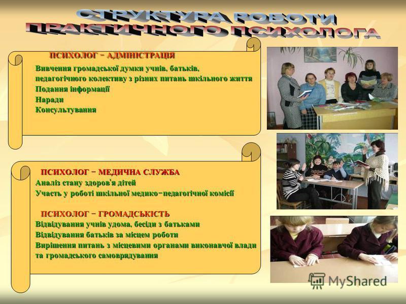 ПСИХОЛОГ - АДМІНІСТРАЦІЯ ПСИХОЛОГ - АДМІНІСТРАЦІЯ Вивчення громадської думки учнів, батьків, Вивчення громадської думки учнів, батьків, педагогічного колективу з різних питань шкільного життя педагогічного колективу з різних питань шкільного життя По