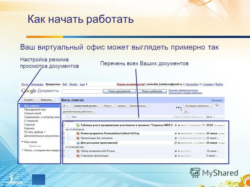 Как начать работать Ваш виртуальный офис может выглядеть примерно так Настройка режима просмотра документов Перечень всех Ваших документов