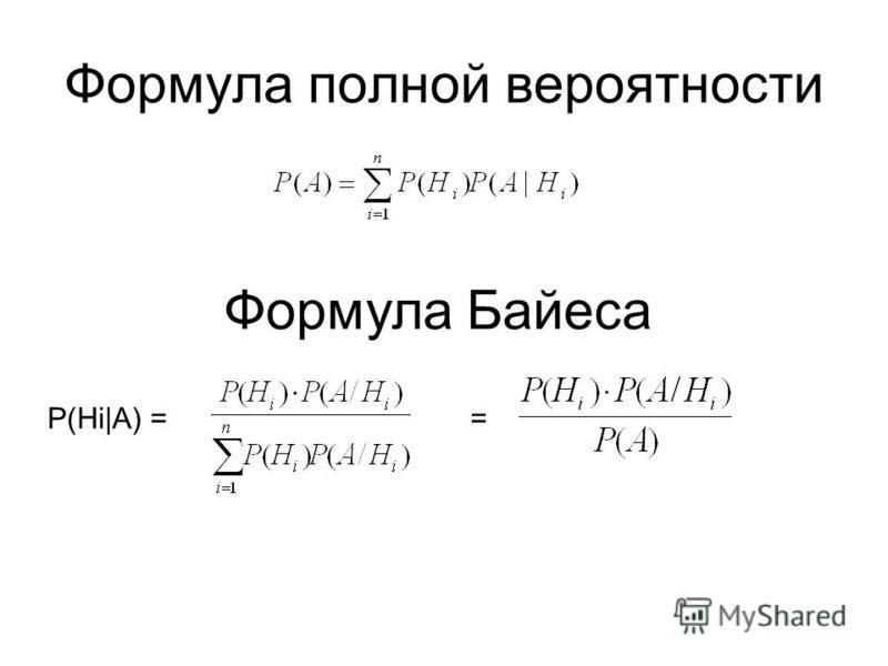 Формула полной вероятности Формула Байеса P(Hi|A) = =