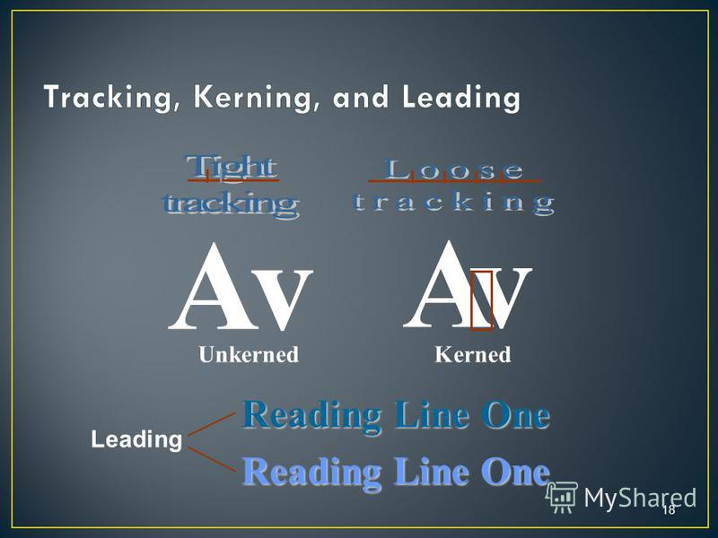 18 Av Unkerned vA Kerned Reading Line One Leading