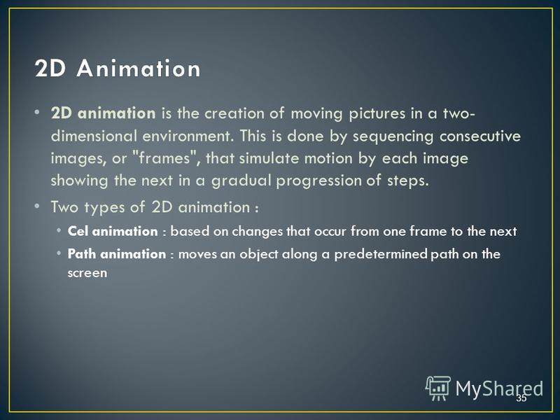 2D animation is the creation of moving pictures in a two- dimensional environment. This is done by sequencing consecutive images, or