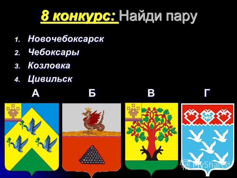 8 конкурс: Найди пару 1. Новочебоксарск 2. Чебоксары 3. Козловка 4. Цивильск А Б ВГ А Б ВГ