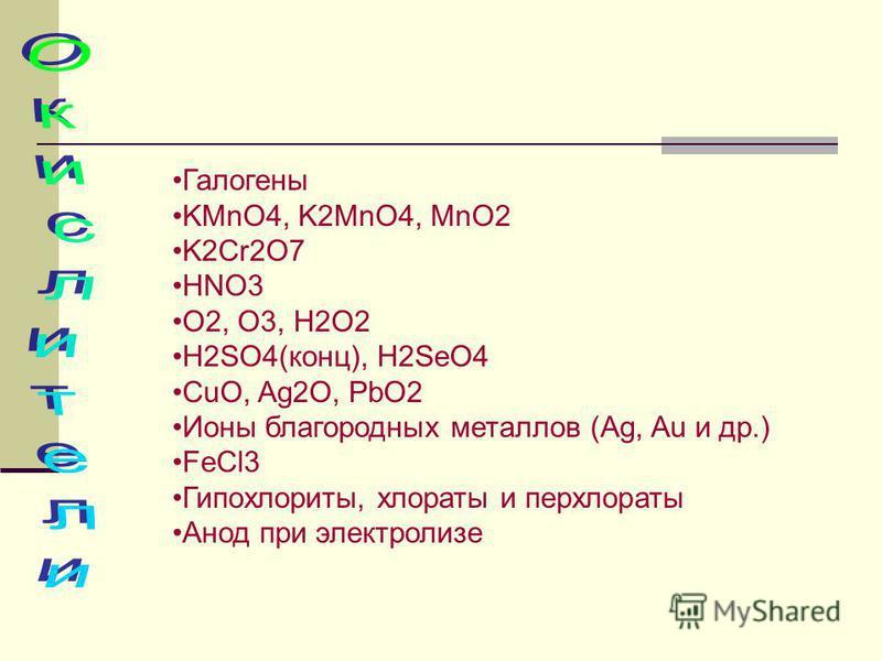 Галогены KMnO4, K2MnO4, MnO2 K2Cr2O7 HNO3 O2, O3, H2O2 H2SO4(конц), H2SeO4 CuO, Ag2O, PbO2 Ионы благородных металлов (Ag, Au и др.) FeCl3 Гипохлориты, хлораты и перхлораты Анод при электролизе