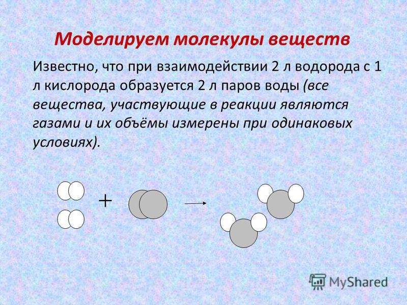 Моделируем молекулы веществ Известно, что при взаимодействии 2 л водорода с 1 л кислорода образуется 2 л паров воды (все вещества, участвующие в реакции являются газами и их объёмы измерены при одинаковых условиях).