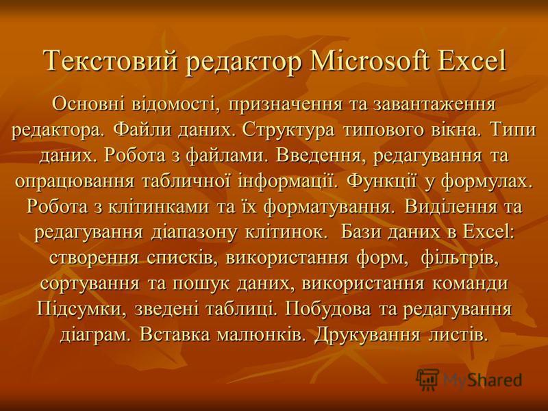 Текстовий редактор Microsoft Excel Основні відомості, призначення та завантаження редактора. Файли даних. Структура типового вікна. Типи даних. Робота з файлами. Введення, редагування та опрацювання табличної інформації. Функції у формулах. Робота з