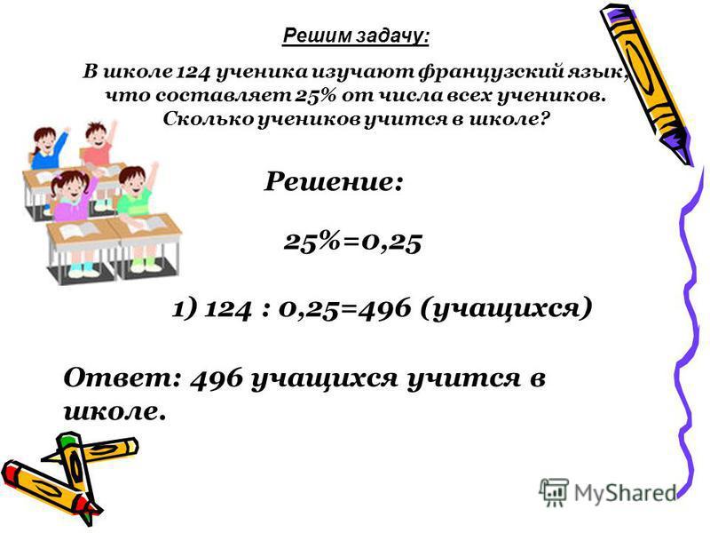 Решим задачу: В школе 124 ученика изучают французский язык, что составляет 25% от числа всех учеников. Сколько учеников учится в школе? Решение: 1) 124 : 0,25=496 (учащихся) 25%=0,25 Ответ: 496 учащихся учится в школе.
