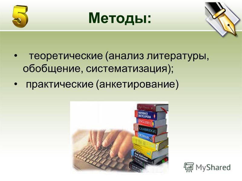 Методы: теоретические (анализ литературы, обобщение, систематизация); практические (анкетирование)