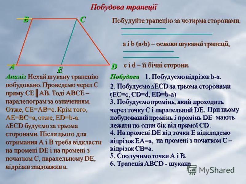 Побудова трапеції В С В С А D Аналіз Побудуйте трапецію за чотирма сторонами. a і b (ab) – основи шуканої трапеції, с і d – її бічні сторони. Нехай шукану трапецію побудовано. Проведемо через С пряму СЕАВ. Тоді АВСЕ – паралелограм за означенням. Неха