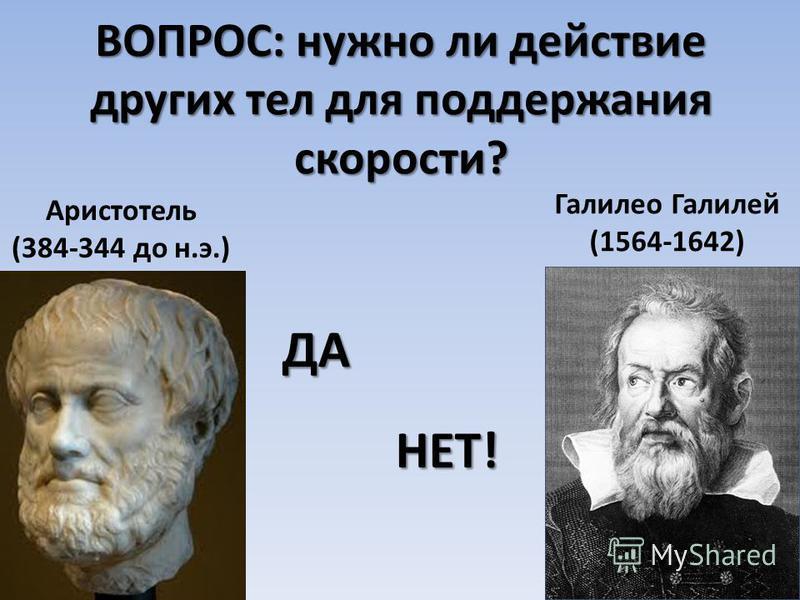 ВОПРОС: нужно ли действие других тел для поддержания скорости? Галилео Галилей (1564-1642) Аристотель (384-344 до н.э.) ДА НЕТ!