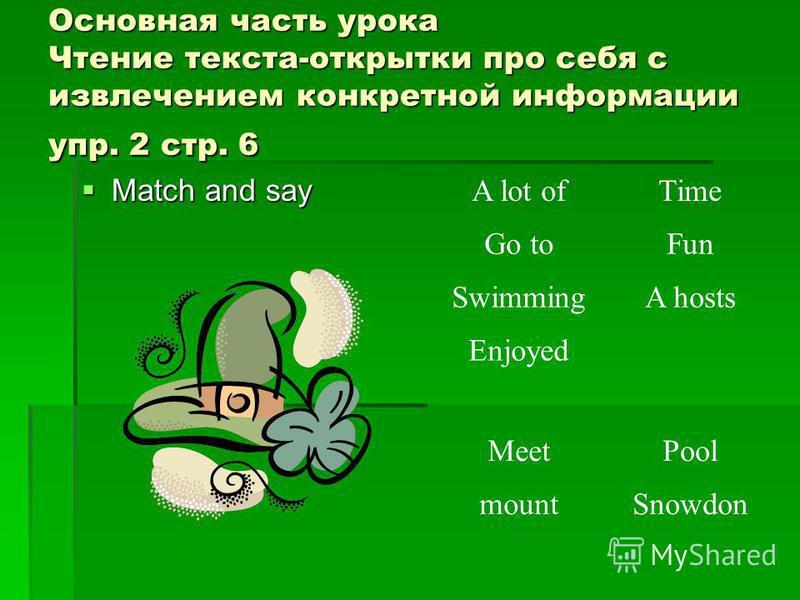 Основная часть урока Чтение текста-открытки про себя с извлечением конкретной информации упр. 2 стр. 6 Match and say A lot ofTime Go toFun SwimmingA hosts Enjoyed MeetPool mountSnowdon
