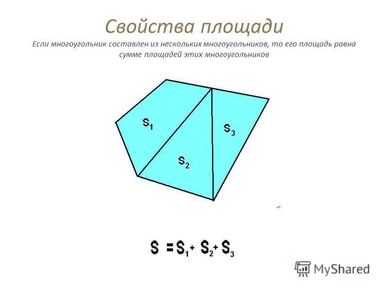 Свойства площади Если многоугольник составлен из нескольких многоугольников, то его площадь равна сумме площадей этих многоугольников