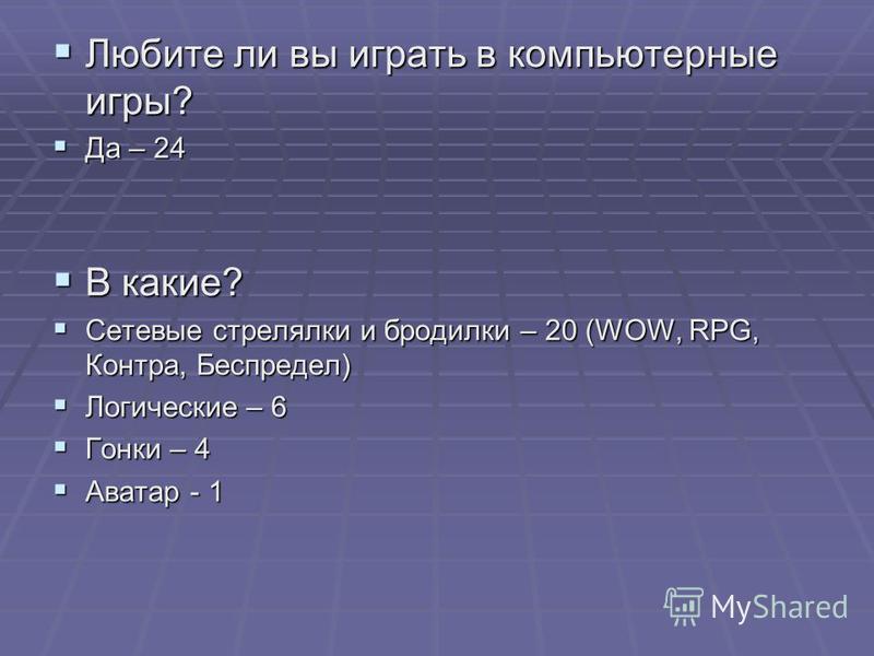 Любите ли вы играть в компьютерные игры? Любите ли вы играть в компьютерные игры? Да – 24 Да – 24 В какие? В какие? Сетевые стрелялки и бродилки – 20 (WOW, RPG, Контра, Беспредел) Сетевые стрелялки и бродилки – 20 (WOW, RPG, Контра, Беспредел) Логиче