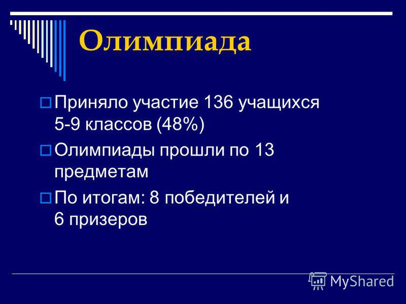 Олимпиада Приняло участие 136 учащихся 5-9 классов (48%) Олимпиады прошли по 13 предметам По итогам: 8 победителей и 6 призеров