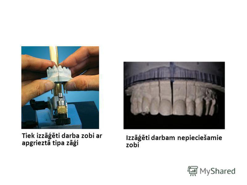 Tiek izzāģēti darba zobi ar apgrieztā tipa zāģi Izzāģēti darbam nepieciešamie zobi