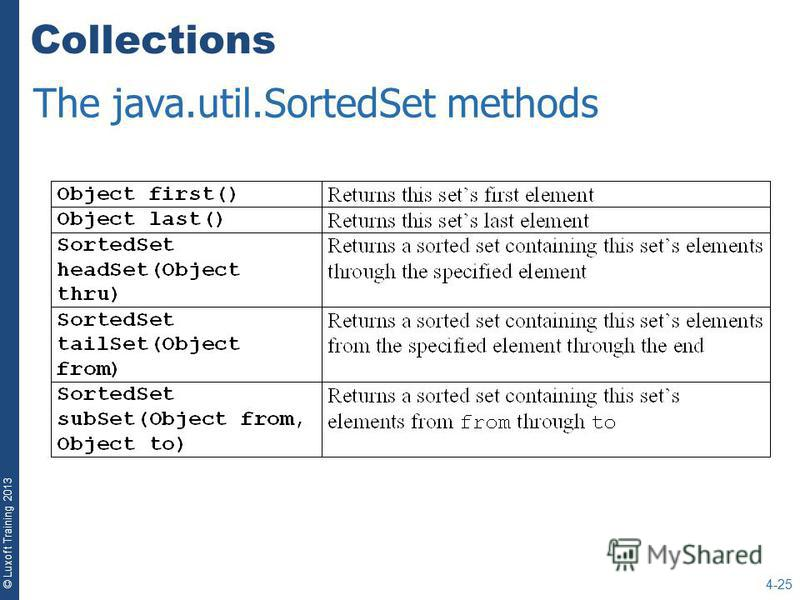 © Luxoft Training 2013 Collections 4-25 The java.util.SortedSet methods