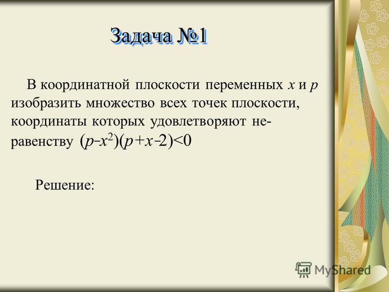 Задача 1 В координатной плоскости переменных x и p изобразить множество всех точек плоскости, координаты которых удовлетворяют не- равенству ( p ¯ x 2 )(p+x ¯ 2)<0 Решение: