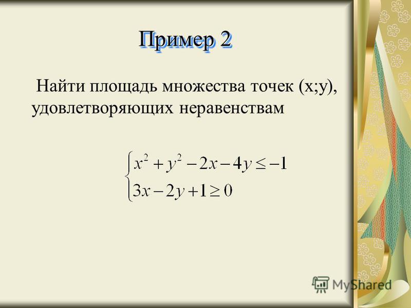 Пример 2 Н айти площадь множества точек (х;у), удовлетворяющих неравенствам