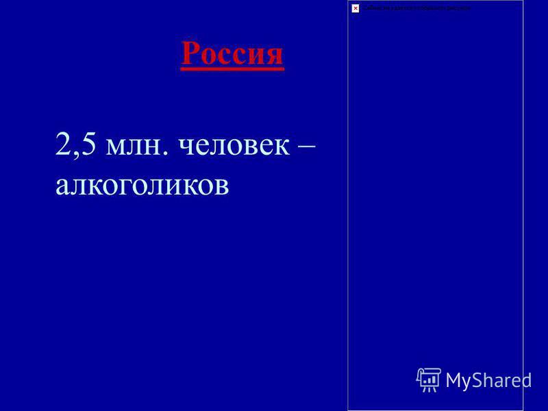 Россия 2,5 млн. человек – алкоголиков