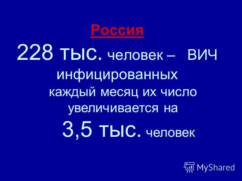 Россия 228 тыс. человек – ВИЧ инфицированных каждый месяц их число увеличивается на 3,5 тыс. человек