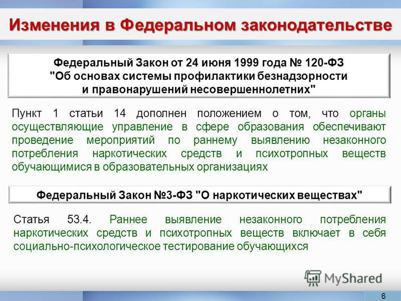 Изменения в Федеральном законодательстве Федеральный Закон от 24 июня 1999 года 120-ФЗ