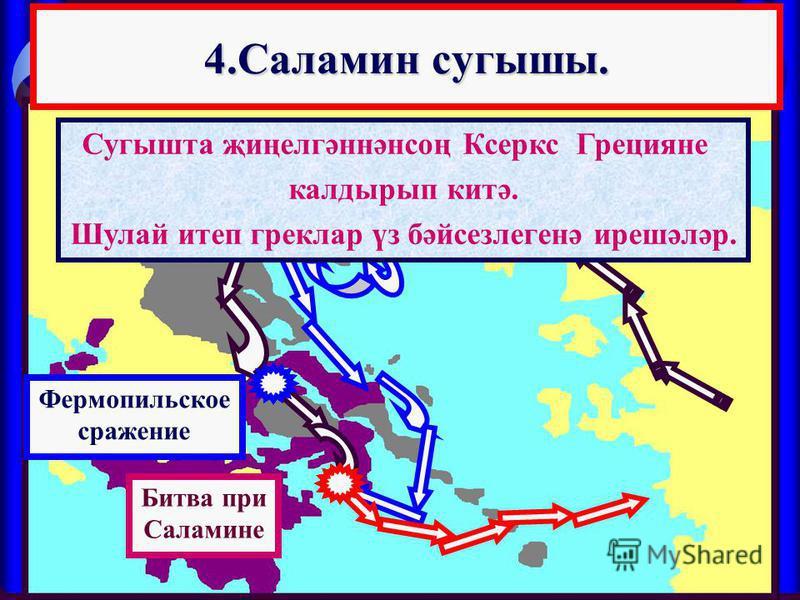 4.Саламин сугышы. 4.Саламин сугышы. Фермопильское сражение Сугышта җиңелгәннәнсоң Ксеркс Грецияне калдырып китә. Шулай итеп греклар үз бәйсезлегенә ирешәләр. Битва при Саламине