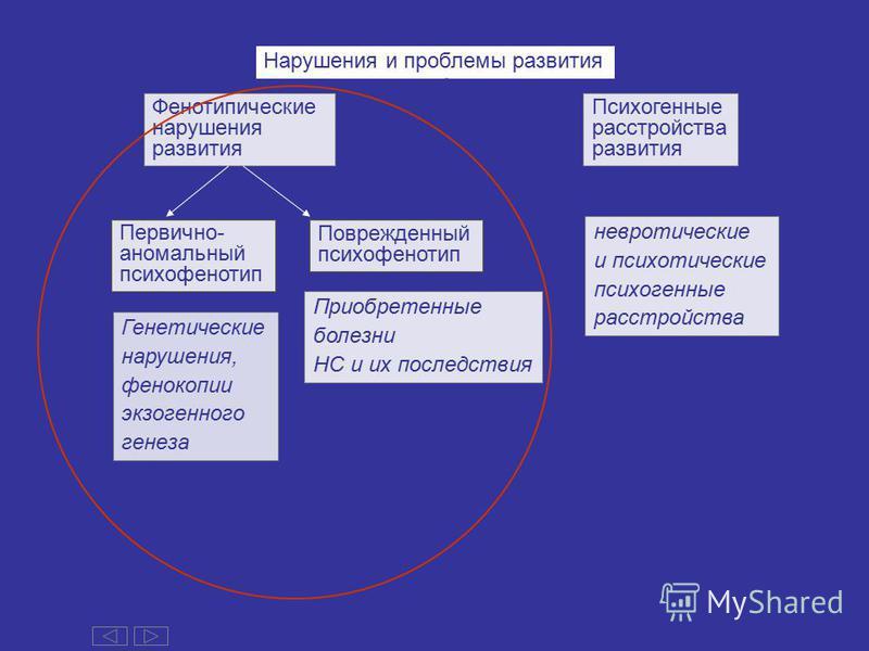 Фенотипические нарушения развития Психогенные расстройства развития Нарушения и проблемы развития Первично- аномальный психофенотип Поврежденный психофенотип Генетические нарушения, фенокопии экзогенного генеза Приобретенные болезни НС и их последств