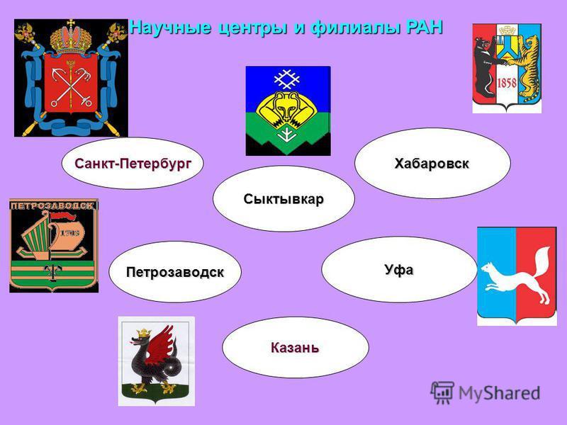 Научные центры и филиалы РАН Санкт-Петербург Петрозаводск Казань Уфа Хабаровск Сыктывкар