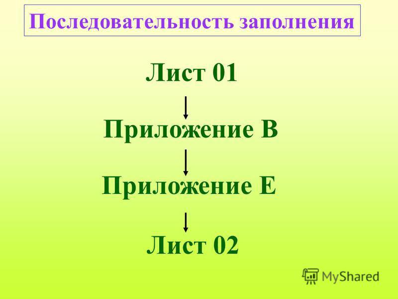 Лист 01 Приложение В Приложение Е Лист 02 Последовательность заполнения