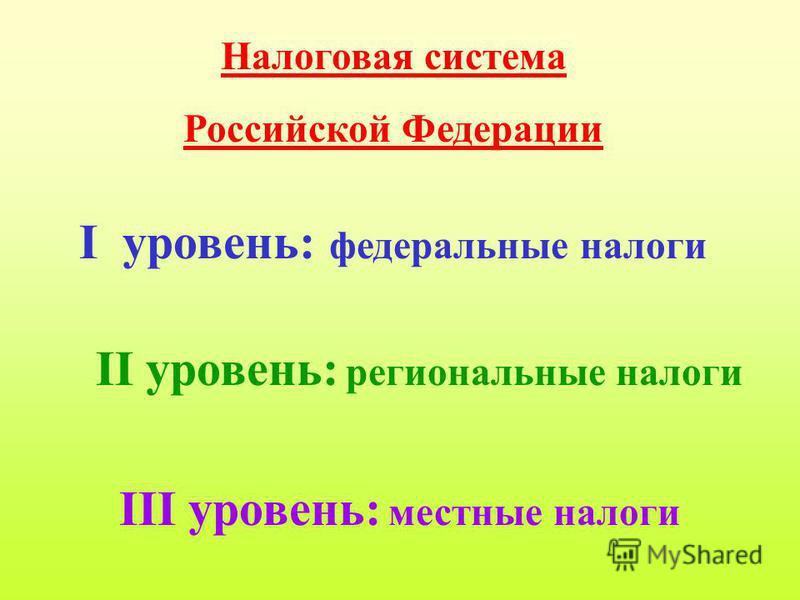 Налоговая система Российской Федерации I уровень: федеральные налоги II уровень: региональные налоги III уровень: местные налоги