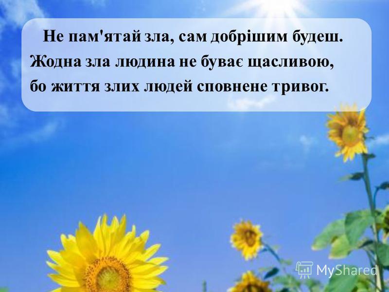 Не пам'ятай зла, сам добрішим будеш. Жодна зла людина не буває щасливою, бо життя злих людей сповнене тривог.