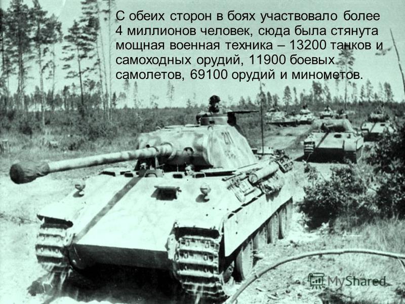 С обеих сторон в боях участвовало более 4 миллионов человек, сюда была стянута мощная военная техника – 13200 танков и самоходных орудий, 11900 боевых самолетов, 69100 орудий и минометов.
