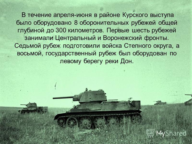 В течение апреля-июня в районе Курского выступа было оборудовано 8 оборонительных рубежей общей глубиной до 300 километров. Первые шесть рубежей занимали Центральный и Воронежский фронты. Седьмой рубеж подготовили войска Степного округа, а восьмой, г