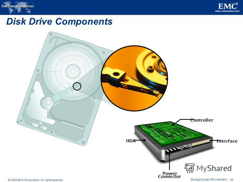 © 2009 EMC Corporation. All rights reserved. Storage System Environment - 40 Disk Drive Components Interface Controller Power Connector HDA