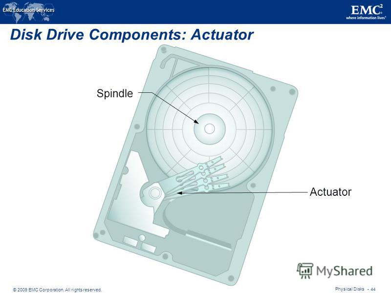 © 2009 EMC Corporation. All rights reserved. Physical Disks - 44 Disk Drive Components: Actuator Actuator Spindle
