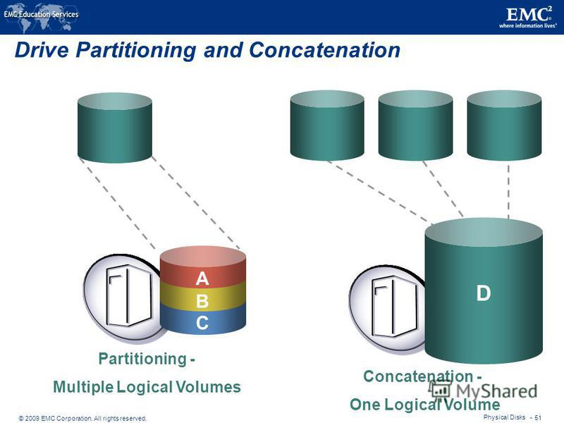 © 2009 EMC Corporation. All rights reserved. Physical Disks - 51 Drive Partitioning and Concatenation A Concatenation - One Logical Volume Partitioning - Multiple Logical Volumes A B C D